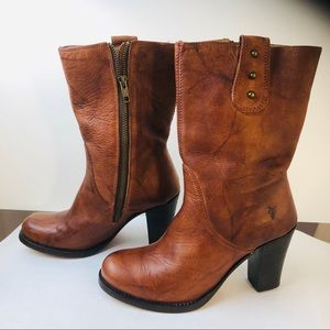 Frye Stacked Heel Distressed Leather Short  Boots